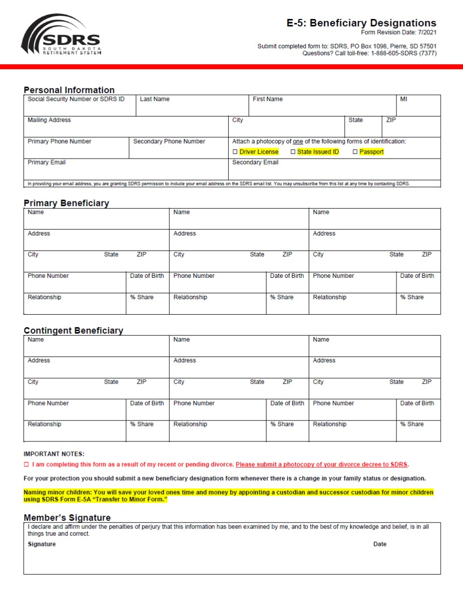 E 5. Beneficiary Designation  Note Payable Form